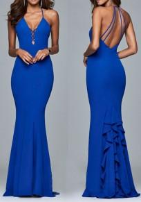 Blue Ruffle Cut Out Draped Spaghetti Strap V-neck Elegant Party Maxi Dress
