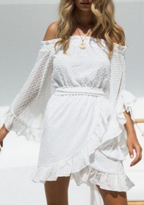 Weiße Rüschen Schleife Mit Gürtel Off Shoulder Trompetenärmel Bohemian Minikleid Sommerkleid