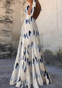 White Floral Draped Shoulder-Strap Backless Elegant Bohemian Banquet Party Maxi Dress