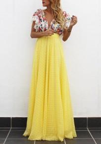 Robe longue imprimé à fleurie fluide dos nu décolleté plongeant manches courtes élégant de soirée jaune