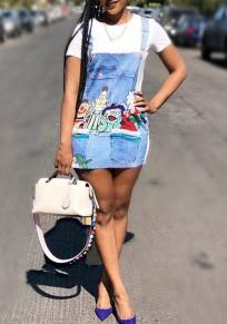 White Cartoon Pattern Buttons False 2-in-1 Casual Cute Mini Dress