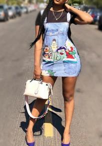 Black Cartoon Pattern Buttons False 2-in-1 Casual Cute Mini Dress