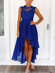 Sapphire Blue Lace Draped Irregular High-low Elegant Party Chiffon Maxi Dress