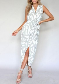 Silver White Dot Print Sashes Slit Shoulder-Strap Deep V-neck Casual Maxi Dress