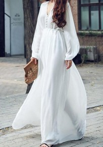 White Draped High Waisted Deep V-neck Long Sleeve Flowy Bohemian Beach Maxi Dress