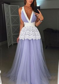 Purple Lace Grenadine Deep V-neck High Waisted Bridesmaid Elegant Graduation Party Maxi Dress