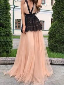 Robe maxi longue avec dentelle tulle croisé dos nu v-cou élégant de soirée rose