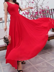 Red Draped Flowy V-neck Elegant Bohemian Party Chiffon Floaty Maxi Dress