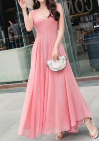 Pink Draped Flowy V-neck Elegant Bohemian Party Chiffon Maxi Dress