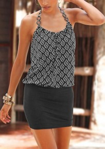Black Patchwork Tie Back Sleeveless Fashion Mini Dress