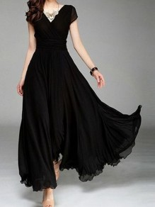 Black Draped V-neck High Waisted Flowy Bohemian Banquet Formal Elegant Party Maxi Dress