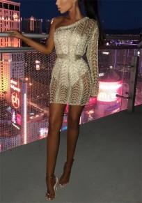 Light Gold Cut Out Asymmetric Shoulder Sashes Fashion Mini Dress