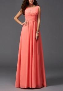 Robe maxi longue en mousseline fluide col ronde sans manches élégant de soirée orange rose