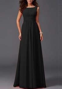 Black Draped Bodycon For Wedding Gowns Elegant Party Chiffon Maxi Dress