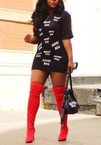 """Mini robe """"manry bag"""" impression col rond décontracté mode noir"""