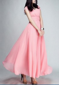 Pink Ruched V-neck High Waisted Flowy Bohemian Bridesmaid Graduation Party Maxi Dress