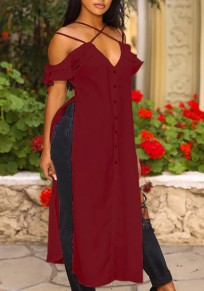 Burgundy Single Breasted Ruffle Side Slit Spaghetti Strap V-neck High-low Party Maxi Dress