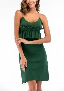 Green Condole Belt Ruffle Cut Out Round Neck Mini Dress