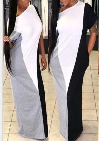 Grey Color Block Print Pockets Asymmetric Shoulder Casual Party Maxi Dress