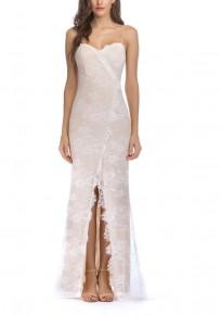 Beige Lace Slit Spaghetti Strap Bodycon Elegant Party Maxi Dress