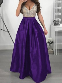 Purple Sequin Pleated Glitter Deep V-neck High Waisted Elegant Graduation Party Maxi Dress