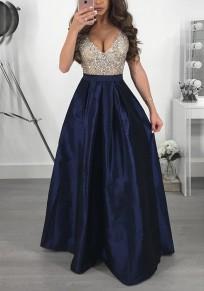 Marineblau Pailletten Plissee V-Ausschnitt Ärmellos Glitzer Maxikleid Abendkleid Ballkleid Lang