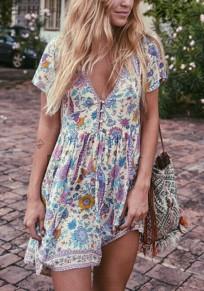 Beige Floral Buttons Draped V-neck Bohemian Party Mini Dress