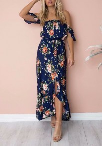 Navy Blue Floral Single Breasted Irregular Boat Neck Fashion Maxi Dress