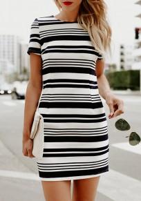 Black Striped Print Short Sleeve Round Neck Bodycon Going out Mini Dress