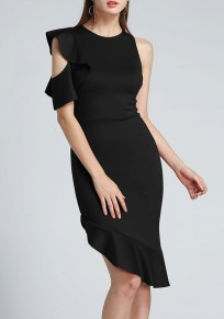 Black Irregular Ruffle Cut Out Zipper Round Neck Party Midi Dress