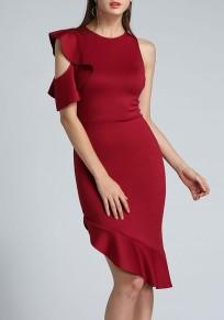 Wine Red Irregular Ruffle Cut Out Zipper Round Neck Party Midi Dress