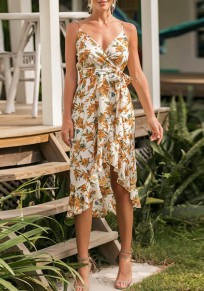 White Floral Sashes Ruffle Spaghetti Strap High-Low Beach Party Bohemian Sundress Midi Dress