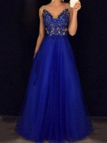 Blue Grenadine Beaded Beading Draped Backless V-neck Banquet Elegant Prom Party Maxi Dress