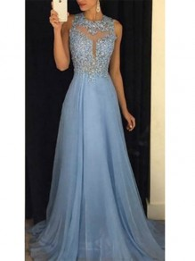 Sky Blue Grenadine Draped Crew Neck Appliques Backless Elegant Bridesmaid Prom Maxi Dress