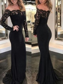 Black Patchwork Lace Off Shoulder Backless Banquet Mermaid Elegant Prom Party Maxi Dress