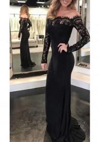 Maxi dress abito da ballo elegante con scollo A barchetta spalle scoperte nero