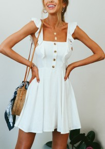 White Single Breasted Ruffle Draped Square Neck Backless Cute Party Mini Dress