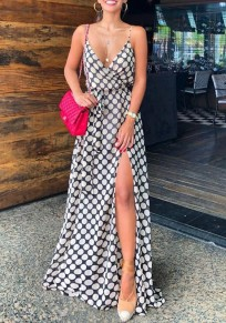 Black-White Polka Dot Print Spaghetti Strap Side Slit Deep V-neck Party Maxi Dress