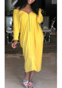 Yellow Pockets Zipper Off Shoulder Backless 3/4 Sleeve Casual Maxi Dress