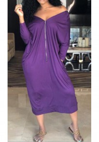 Purple Pockets Zipper Off Shoulder Backless 3/4 Sleeve Casual Maxi Dress