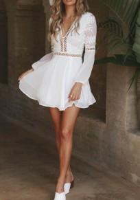 Weiße Spitze Drapiert V-Ausschnitt Langarm Rückenfrei Bohemian Sommer Minikleid Cocktailkleid Kurz