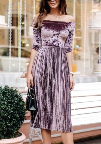 Purple Pleated Boat Neck Elbow Sleeve Fashion Midi Dress