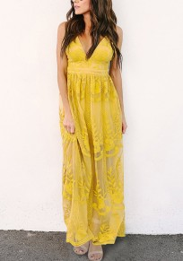 Yellow Pleated Lace Spaghetti Strap Deep V-neck High Waisted Elegant Party Maxi Dress
