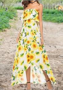Yellow Sunflower Print Ruffle Slit Off Shoulder High-Low Flowy Sun Bohemian Maxi Dress