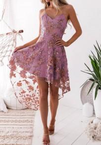Lila Spaghettiträger Blumen Spitze V-Ausschnitt Rückenfreies Unregelmäßig Vokuhila Mode Midikleid Partykleid
