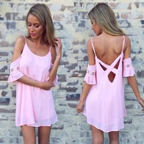 Mini vestido correa de espagueti de corte de encaje sin respaldo dulce rosa