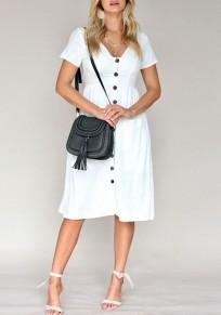 White Buttons Pockets V-neck Short Sleeve Fashion Midi Dress