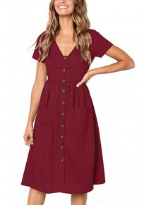 Midi-robe boutons poches v-cou sans manches courtes mode vin rouge