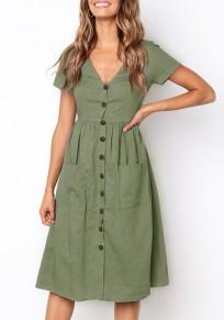 Armeegrün Knöpfe Taschen V-Ausschnitt Kurzarm Mode Midikleid