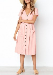 Pink Buttons Pockets V-neck Short Sleeve Fashion Midi Dress